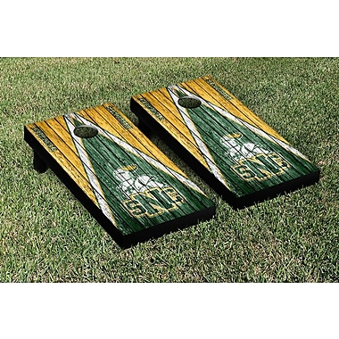 Victory Tailgate NCAA Triangle Weathered Version Cornhole Boards Game Set; St. Norbert Green Knights