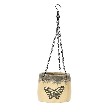 ZiaBella Butterfly Ceramic Hanging Planter; Butter