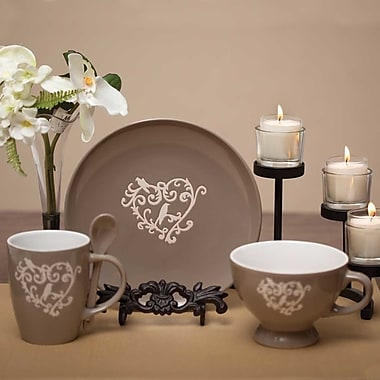 ZiaBella Heart Scroll 3 Piece Place Setting, Service for 1