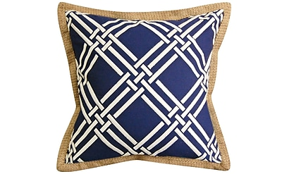 Rightside Design Basket Weave Modern Embroidered Throw Pillow; Navy/White