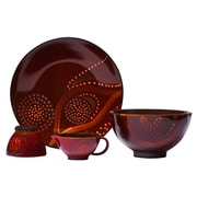 Red Vanilla Organic 4 Piece Dinnerware Collection; Red