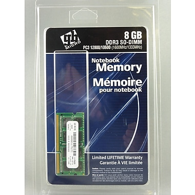GB Micro – Mémoire SDRAM SoDIMM DDR3 8 Go, PC3-12800 1600 MHz, 204 broches (117523)