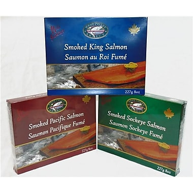 West Coast Smoked Salmon Gift Boxes, Pink, King, and Sockeye, 227 grams per Box