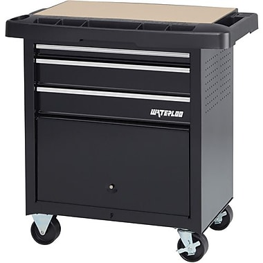Waterloo 3-Drawer Project Center, Black (SP-PC3BK)
