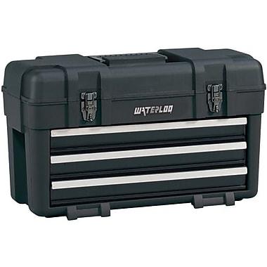 Waterloo – Coffre portatif en plastique à 3 tiroirs, noir (PP-2314BK)