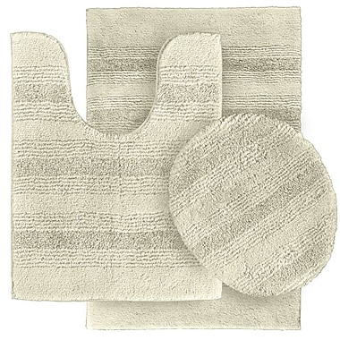 Wildon Home Deyanira 3 Piece Green Bath Rug Set (Set of 3); Ivory