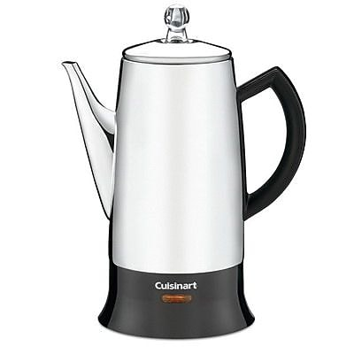 Cuisinart PRC-12FR Classic 12 Cups Percolator, Refurbished, Black/Silver IM1UW2248
