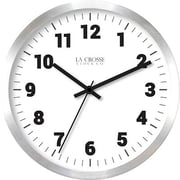 "La Crosse Technology® Indoor 9.8""H x 9.8""W x 1.8""D Silver Contemporary Analog Wall Clock (404-2626)"