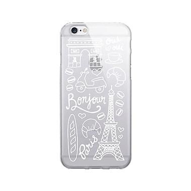 OTM Prints Clear Phone Case, Bonjour Paris White, iPhone 7/7S (OP-IP7V1CG-A02-12)