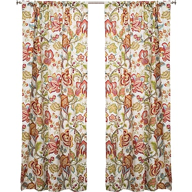 The Pillow Collection Jacobean Nature/Floral Semi-Sheer Rod Pocket Single Curtain Panel