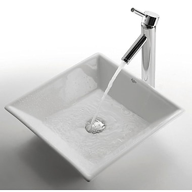 Kraus Ceramic Square Vessel Bathroom Sink; Chrome