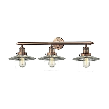 Innovations Lighting 3-Light Holophane Glass Wall Sconce; Antique Copper