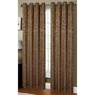 Window Elements Allie Textured Nature/Floral Sheer Single Curtain Panel; Mocha