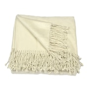 Aviva Stanoff Design Silk Fleece Throw; Creme