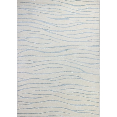 Bashian Rugs Norwalk Hand-Tufted White/Aqua Area Rug; 8'6'' x 11'6''