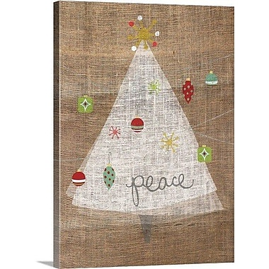 Christmas Art 'Christmas Joy on Burlap II' by A Fresh Bunch Graphic Art on Wrapped Canvas