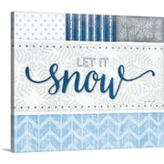 Canvas On Demand Christmas Art 'Snow Silver Blue' by Jennifer Pugh Textual Art on Wrapped Canvas