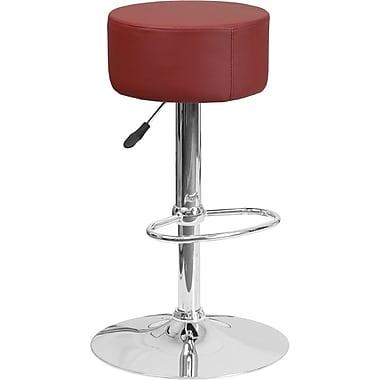 Flash Furniture Burgundy Vinyl Adjustable Height Barstool with Chrome Base (2-CH-82056-BURG-GG)