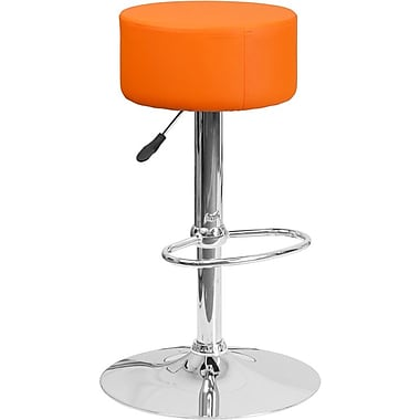Flash Furniture Orange Vinyl Adjustable Height Barstool with Chrome Base (2-CH-82056-ORG-GG)
