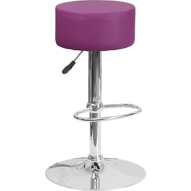 Flash Furniture Purple Vinyl Adjustable Height Barstool with Chrome Base, Set of 2 (2-CH-82056-PUR-GG)