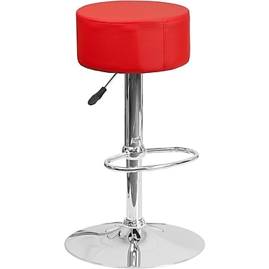 Flash Furniture Red Vinyl Adjustable Height Barstool with Chrome Base, Set of 2 (2-CH-82056-RED-GG)