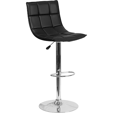 Flash Furniture – Tabouret de bar ajustable en vinyle capitonné noir et à pied chromé, lot de 2 (2-CH-92026-1-BK-GG)