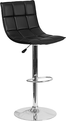 Flash Furniture Black Quilted Vinyl Adjustable Height Barstool with Chrome Base, Set of 2 (2-CH-92026-1-BK-GG)