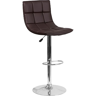 Flash Furniture – Tabouret de bar ajustable en vinyle capitonné brun et à pied chromé, lot de 2 (2-CH-92026-1-BRN-GG)