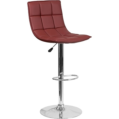 Flash Furniture – Tabouret de bar ajustable en vinyle capitonné bourgogne et à pied chromé, lot de 2 (2-CH-92026-1-BURG-GG)