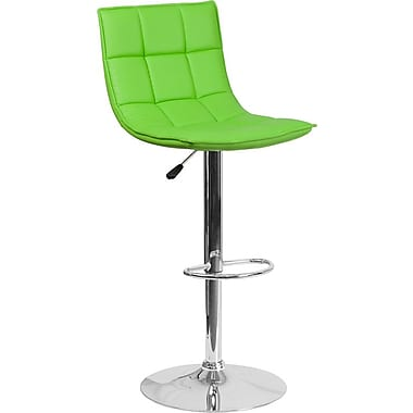 Flash Furniture – Tabouret de bar ajustable en vinyle matelassé vert et à pied chromé, ensemble de 2 (2-CH-92026-1-GRN-GG)