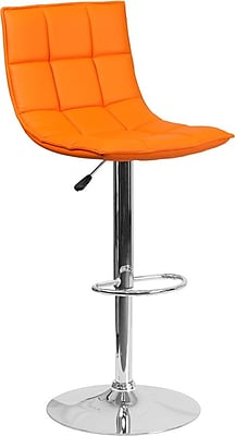 Flash Furniture Orange Quilted Vinyl Adjustable Height Barstool with Chrome Base, Set of 2 (2-CH-92026-1-ORG-GG)
