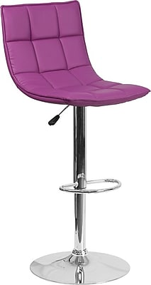 Flash Furniture Purple Quilted Vinyl Adjustable Height Barstool with Chrome Base, Set of 2 (2-CH-92026-1-PUR-GG)