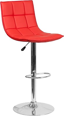 Flash Furniture Red Quilted Vinyl Adjustable Height Barstool with Chrome Base, Set of 2 (2-CH-92026-1-RED-GG)