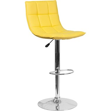 Flash Furniture Yellow Quilted Vinyl Adjustable Height Barstool with Chrome Base, Set of 2 (2-CH-92026-1-YEL-GG)