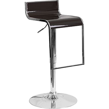 Flash Furniture Brown Plastic Adjustable Height Barstool with Chrome Drop Frame, Set of 2 (2-CH-TC3-1027P-BRN-GG)