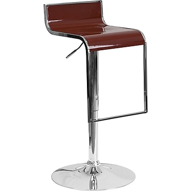 Flash Furniture Burgundy Plastic Adjustable Height Barstool with Chrome Drop Frame, Set of 2 (2-CH-TC3-1027P-BURG-GG)