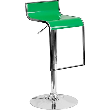Flash Furniture Green Plastic Adjustable Height Barstool with Chrome Drop Frame, Set of 2 (2-CH-TC3-1027P-GRN-GG)
