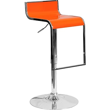 Flash Furniture Orange Plastic Adjustable Height Barstool with Chrome Drop Frame, Set of 2 (2-CH-TC3-1027P-ORG-GG)