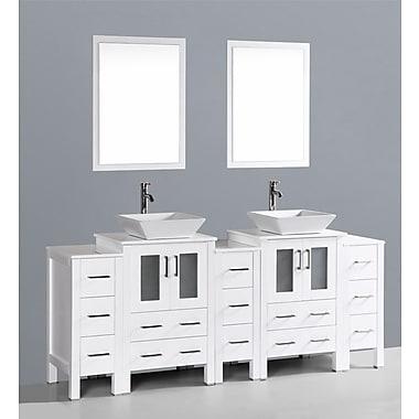 Bosconi Contemporary 84'' Double Bathroom Vanity Set w/ Mirror; White