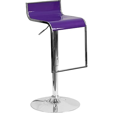 Flash Furniture Purple Plastic Adjustable Height Barstool with Chrome Drop Frame, Set of 2 (2-CH-TC3-1027P-PUR-GG)