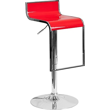 Flash Furniture Red Plastic Adjustable Height Barstool with Chrome Drop Frame, Set of 2 (2-CH-TC3-1027P-RED-GG)