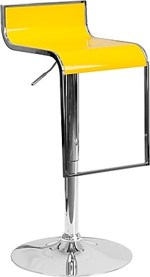 Flash Furniture Yellow Plastic Adjustable Height Barstool with Chrome Drop Frame, Set of 2 (2-CH-TC3-1027P-YEL-GG)