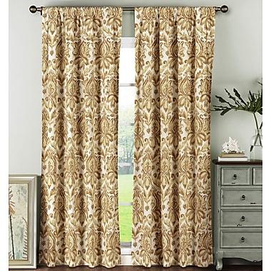 Window Elements Damask Sheer Rod Pocket Curtain Panels (Set of 2); Rust