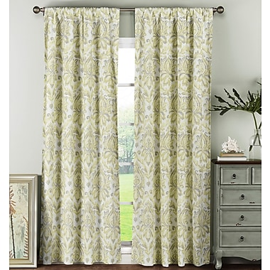 Window Elements Damask Sheer Rod Pocket Curtain Panels (Set of 2); Yellow/Grey