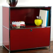 System4 Credenza and Filing Cube w/ Soft-Close Drawer; Wine Red