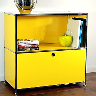 System4 Credenza and Filing Cube w/ Soft-Close Drawer; Traffic Yellow