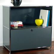 System4 Credenza and Filing Cube w/ Soft-Close Drawer; Anthracite