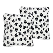 Sweet Home Collection Dalmatian Paw Print Plush Faux Fur Throw Pillow (Set of 2)