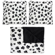 Sweet Home Collection Dalmation Paw Print Plush Faux Fur Throw Pillow Set (Set of 2)