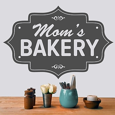 SweetumsWallDecals Mom's Bakery Wall Decal; Dark Gray